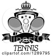 Clipart Of A Black And White Crown Blank Banner And Tennis Ball Shield With Ribbons And Rackets Over Text Royalty Free Vector Illustration