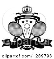 Clipart Of A Black And White Crown Blank Banner And Tennis Ball Shield With Ribbons And Rackets Royalty Free Vector Illustration