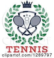 Clipart Of A Navy Blue Crown Over A Tennis Ball And Racket Shield In A Green Wreath Over Red Text Royalty Free Vector Illustration