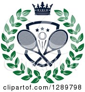 Clipart Of A Navy Blue Crown Over A Tennis Ball And Racket Shield In A Green Wreath Royalty Free Vector Illustration by Vector Tradition SM