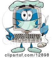 Desktop Computer Mascot Cartoon Character Plastic Surgeon With A Knife