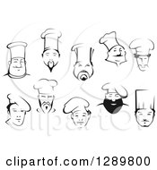Clipart Of Black And White Male Chef Faces Royalty Free Vector Illustration