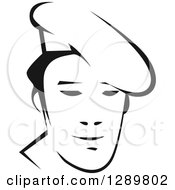 Clipart Of A Black And White Male Asian Chef Face 2 Royalty Free Vector Illustration