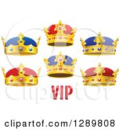 Clipart Of Gold Cartoon Crowns With Vip Text 2 Royalty Free Vector Illustration