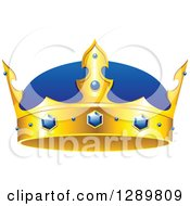 Clipart Of A Blue And Gold Crown With Sapphires Royalty Free Vector Illustration