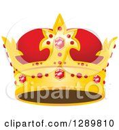 Clipart Of A Red And Gold Crown With Rubies Royalty Free Vector Illustration