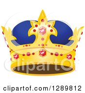 Clipart Of A Blue And Gold Crown With Rubies Royalty Free Vector Illustration