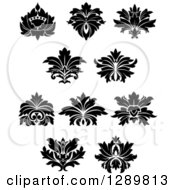 Clipart Of Black And White Vintage Floral Lotus Design Elements Royalty Free Vector Illustration