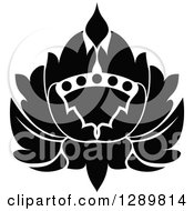 Clipart Of A Black And White Vintage Floral Lotus Design Element Royalty Free Vector Illustration