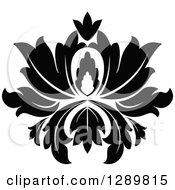Clipart Of A Black And White Vintage Floral Lotus Design Element 10 Royalty Free Vector Illustration