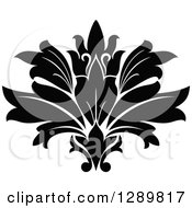 Clipart Of A Black And White Vintage Floral Lotus Design Element 3 Royalty Free Vector Illustration