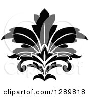 Clipart Of A Black And White Vintage Floral Lotus Design Element 4 Royalty Free Vector Illustration