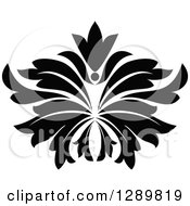 Clipart Of A Black And White Vintage Floral Lotus Design Element 5 Royalty Free Vector Illustration