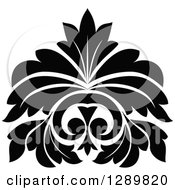 Clipart Of A Black And White Vintage Floral Lotus Design Element 6 Royalty Free Vector Illustration