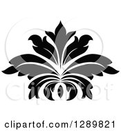 Clipart Of A Black And White Vintage Floral Lotus Design Element 7 Royalty Free Vector Illustration