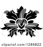 Clipart Of A Black And White Vintage Floral Lotus Design Element 8 Royalty Free Vector Illustration