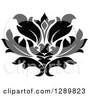 Clipart Of A Black And White Vintage Floral Lotus Design Element 9 Royalty Free Vector Illustration