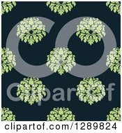 Clipart Of A Background Pattern Of Seamless Green Damask Royalty Free Vector Illustration