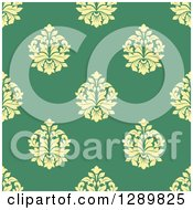 Clipart Of A Background Pattern Of Seamless Yellow Damask On Green 2 Royalty Free Vector Illustration