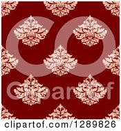 Clipart Of A Background Pattern Of Seamless Pink Damask On Red Royalty Free Vector Illustration