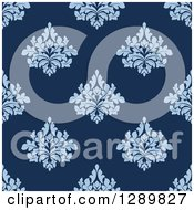 Clipart Of A Background Pattern Of Seamless Blue Damask Royalty Free Vector Illustration