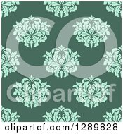 Clipart Of A Background Pattern Of Seamless Turquoise Damask On Green Royalty Free Vector Illustration
