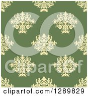 Clipart Of A Background Pattern Of Seamless Turquoise Damask On Taupe Royalty Free Vector Illustration