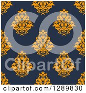 Clipart Of A Background Pattern Of Seamless Orange Damask On Navy Blue Royalty Free Vector Illustration