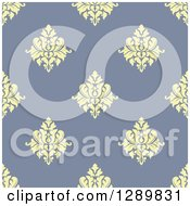 Clipart Of A Background Pattern Of Seamless Yellow Damask On Purple Royalty Free Vector Illustration