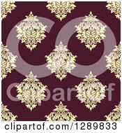 Clipart Of A Background Pattern Of Seamless Yellow Damask On Maroon Royalty Free Vector Illustration