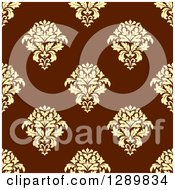 Clipart Of A Background Pattern Of Seamless Yellow Damask On Brown Royalty Free Vector Illustration