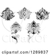 Clipart Of Black And White Henna Lotus And Flowers Royalty Free Vector Illustration