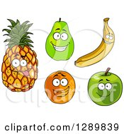 Clipart Of Pineapple Pear Banana Orange And Green Apple Characters Royalty Free Vector Illustration