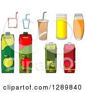 Clipart Of Cartons Glasses And Boxes Of Juice And Fountain Sodas Royalty Free Vector Illustration