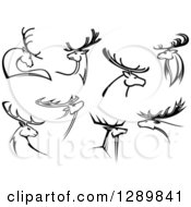Clipart Of Black And White Deer With Antlers Royalty Free Vector Illustration