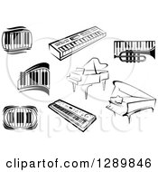 Clipart Of Black And White Sketched Grand Pianos A Trumpet And Keyboards Royalty Free Vector Illustration by Vector Tradition SM