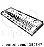 Clipart Of A Black And White Electric Music Piano Keyboard Royalty Free Vector Illustration by Vector Tradition SM