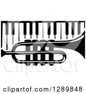 Clipart Of A Black And White Trumpet Over Piano Keys Royalty Free Vector Illustration by Vector Tradition SM