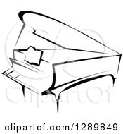 Clipart Of A Black And White Sketched Grand Piano Royalty Free Vector Illustration by Vector Tradition SM