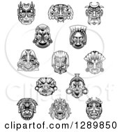 Clipart Of Black And White Tribal Masks 2 Royalty Free Vector Illustration