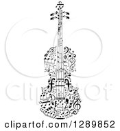 Clipart Of A Black And White Violin Made Of Music Notes Royalty Free Vector Illustration by Vector Tradition SM