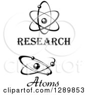 Clipart Of Black And White Atoms With Text Royalty Free Vector Illustration