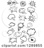 Clipart Of Black And White Comic Bursts Explosions Or Poofs Thought And Speech Bubbles Royalty Free Vector Illustration by Vector Tradition SM