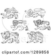 Black And White Heraldic Lions