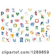 Clipart Of A Colorful Abstract Alphabet Letters 3 Royalty Free Vector Illustration
