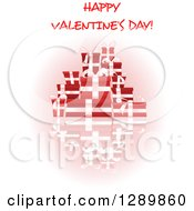 Clipart Of Happy Valentines Day Text Over Red Gifts And A Reflection On White Royalty Free Vector Illustration
