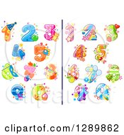 Clipart Of Festive Colorful Party Numbers Royalty Free Vector Illustration