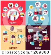 Clipart Of Travel Service Luxury And Hotel Designs Royalty Free Vector Illustration