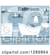 Clipart Of A Blue Bathroom Interior With A Washing Machine And Sample Text Royalty Free Vector Illustration by Vector Tradition SM