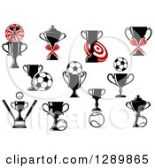 Clipart Of Throwing Darts Targets Soccer Balls Baseballs And Trophies Royalty Free Vector Illustration